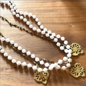 Faux pearl and gold pendant statement necklace